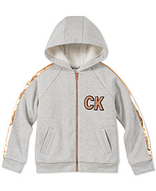 Calvin Klein Big Girls Foil-Stripe Fleece Hoodie