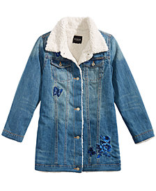 GUESS Big Girls Faux Fur Denim Jacket
