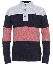 Tommy Hilfiger Big Boys Colorblocked Mock Neck Sweater