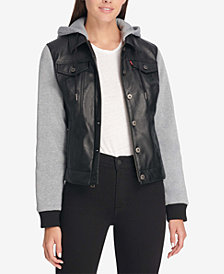 Levi's® Faux Leather & Jersey Hoodie Trucker Jacket