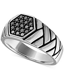 Esquire Men's Jewelry Diamond Brick Pattern Ring (1/2 ct. t.w.) in Sterling Silver, Created for Macy's