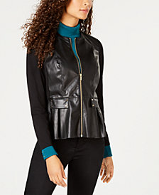 JM Collection Mixed-Media Faux-Leather Jacket, Created for Macy's