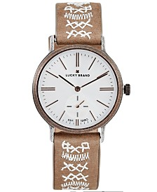 Lucky Brand Women's Ventana Embroidered Tan Leather Strap Watch 34mm