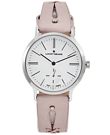 Lucky Brand Women's Ventana Blush Cut Out Leather Strap Watch 34mm