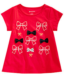 First Impressions Baby Girls Bows-Print Cotton T-Shirt, Created for Macy's