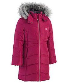 Calvin Klein Toddler Girls Aerial Hooded Jacket with Faux-Fur Trim