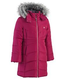 Calvin Klein Big Girls Aerial Hooded Jacket with Faux-Fur Trim