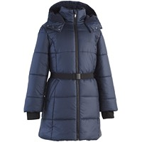 Calvin Klein Big Girls Belted Puffer Jacket (Dark Blue/Anthracite/Wine)