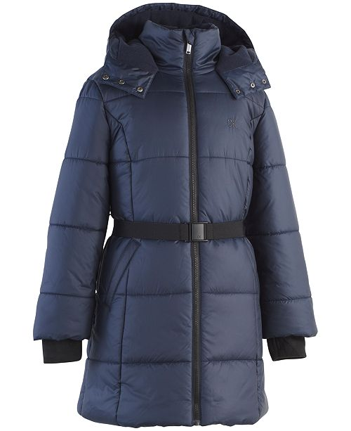 c88bcc38fd56 Calvin Klein Big Girls Belted Puffer Jacket   Reviews - Coats ...