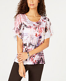 JM Collection Embellished Flounce-Sleeve Top, Created for Macy's
