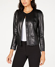Anne Klein Collarless Leather Jacket