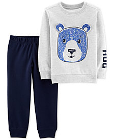 Carter's Baby Boys 2-Pc. Bear Graphic Top & Sweat Pants Set, Created for Macy's