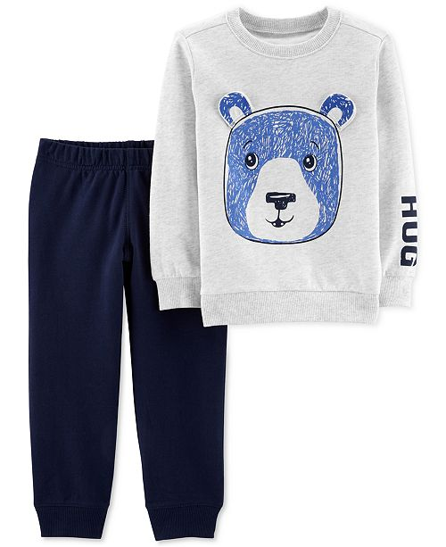 2ad8854c2155 Carter s Baby Boys 2-Pc. Bear Graphic Top   Sweat Pants Set ...