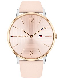 Women's Pink Leather Strap Watch 40mm, Created for Macy's