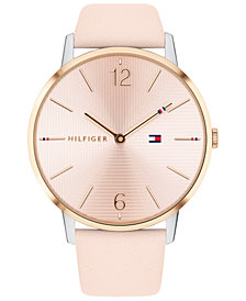 Tommy Hilfiger Women's Pink Leather Strap Watch 40mm, Created for Macy's
