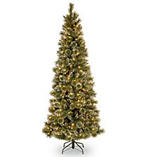 National Tree 6 .5' Glittery Bristle Slim Pine Tree with White Cones and 400 Clear Lights
