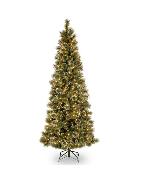 National Tree Company National Tree 6 .5' Glittery Bristle Slim Pine Tree with White Cones and 400 Clear Lights