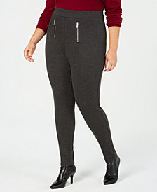I.N.C. Plus Size Zip Menswear Leggings, Created for Macy's