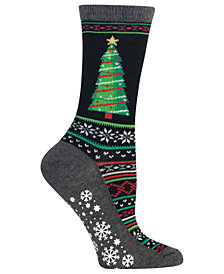 Hot Sox Fair Isle Tree Non-Skid Crew Socks