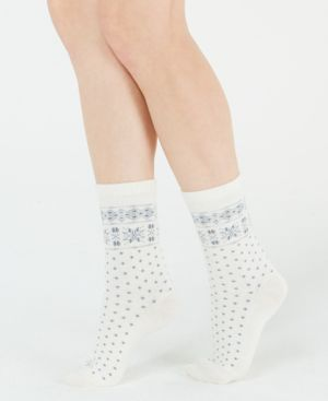 Snowflake-Border Boot Socks in Ivory
