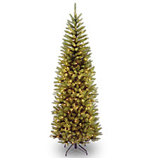 National Tree 6 .5' Kingswood Fir Hinged Pencil Tree with 250 Clear Lights