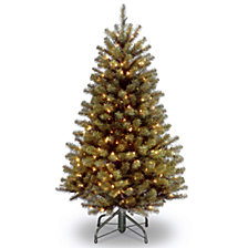 National Tree 4.5' North Valley Spruce Hinged Tree with 200 Clear Lights