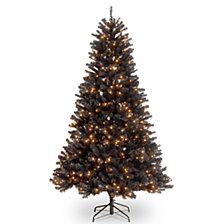 National Tree 7' North Valley Black Spruce Hinged Tree with 500 Clear Lights