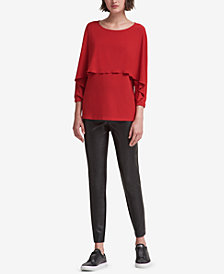 DKNY Ruffled 3/4-Sleeve Top, Created for Macy's