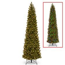 National Tree 12' Feel Real Downswept Douglas Fir Pencil Slim Tree with 850 Dual Color LED Lights & Caps