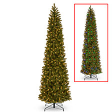 National Tree 12' Feel Real Downswept Douglas Fir Pencil Slim Tree with 850 Dual Color LED Lights & Caps