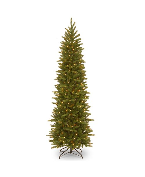 National Tree Company National Tree 9' Feel Real Grande Fir Pencil Slim Tree with 500 Clear Lights
