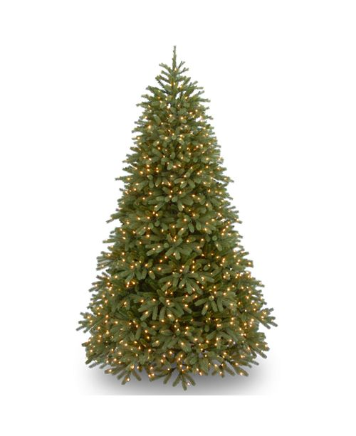 """National Tree Company National Tree 9' """"Feel Real"""" Jersey Frasier Fir Medium Hinged Tree with 1500 Clear Lights"""