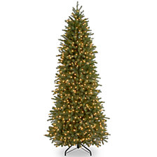 National Tree 9' Feel Real Jersey Fraser Pencil Slim Fir Hinged Tree with 800 Clear Lights