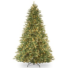 "National Tree 7 .5' ""Feel Real"" Tiffany Fir Hinged Tree with 750 Clear Lights"