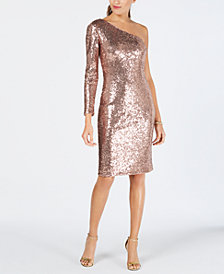 Nightway One-Shoulder Sequined Sheath Dress