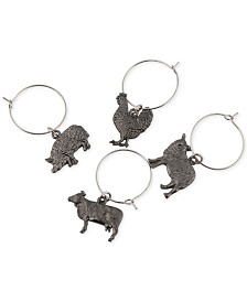 CLOSEOUT! Thirstystone  Set of 4 Farm Animal Wine Charms