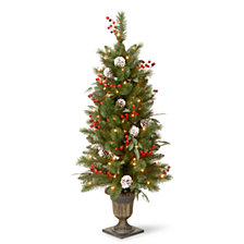 National Tree Company 4' Frosted Pine Berry Collection Entrance Tree with   Cones, Red Berries, Silver Glittered Eucalyptus Leaves & Clear Lights in Bronze Pot