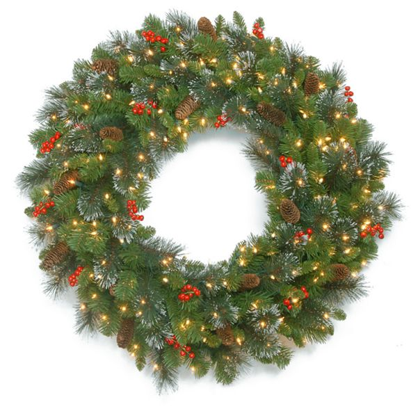 """National Tree Company 48"""" Crestwood Spruce Wreath with Silver Bristle, Cones, Red Berries and Glitter with 250 Clear Lights"""