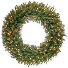 "National Tree Company 48"" Norwood Fir Wreath with 300 Warm White LED Lights"