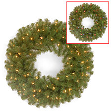 """National Tree 24"""" North Valley Spruce Wreath with 50 Battery Operated Dual LED Lights"""