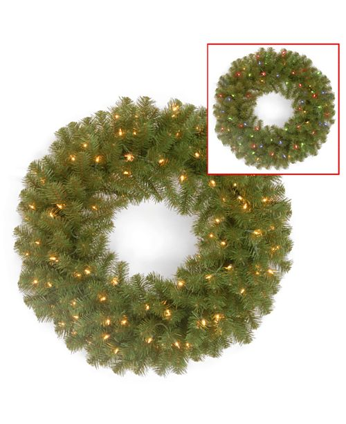 "National Tree Company National Tree 24"" North Valley Spruce Wreath with 50 Battery Operated Dual LED Lights"