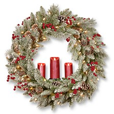 "36"" Feel Real®  Snowy Bristle Wreath w/ 100 Battery Operated LED Lights,  3 Red Electronic Candles,  Berries & Cones"