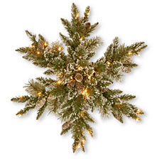 """National Tree Company 32"""" Glittery Bristle Pine Snowflake with 21 White Tipped Cones & 50 Warm White Battery Operated LED Lights w/Timer"""