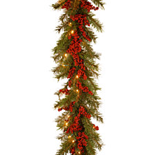"""National Tree 9' X 14"""" Decorative Collection Valley Pine Garland with Red Berries and 50 Soft White Battery Operated LEDs with Timer"""