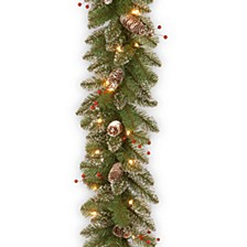 "9' x 10"" Glittery Mountain Spruce Garland with White Edged Cones, Red Berries and 50 Clear Lights"