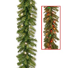 "9' x 10"" Norwood Fir Garland with 50 Battery Operated Dual LED Lights"