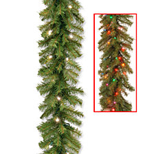 "National Tree Company 9' x 10"" Norwood Fir Garland with 50 Battery Operated Dual LED Lights"