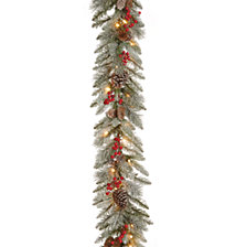 "National Tree Company 9'x12"" Feel Real® Snowy Bristle Berry Garland with Red Berries, Mixed Cones & 50 Clear Lights"
