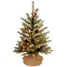 3' Dunhill® Fir Small Tree with Red Berries, Snow, Cones & Battery Operated LED Lights