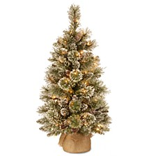 3' Glittery Bristle Pine Burlap Tree with 7 White Tipped Cones & 35 Warm White Battery Operated LED Lights w/Timer